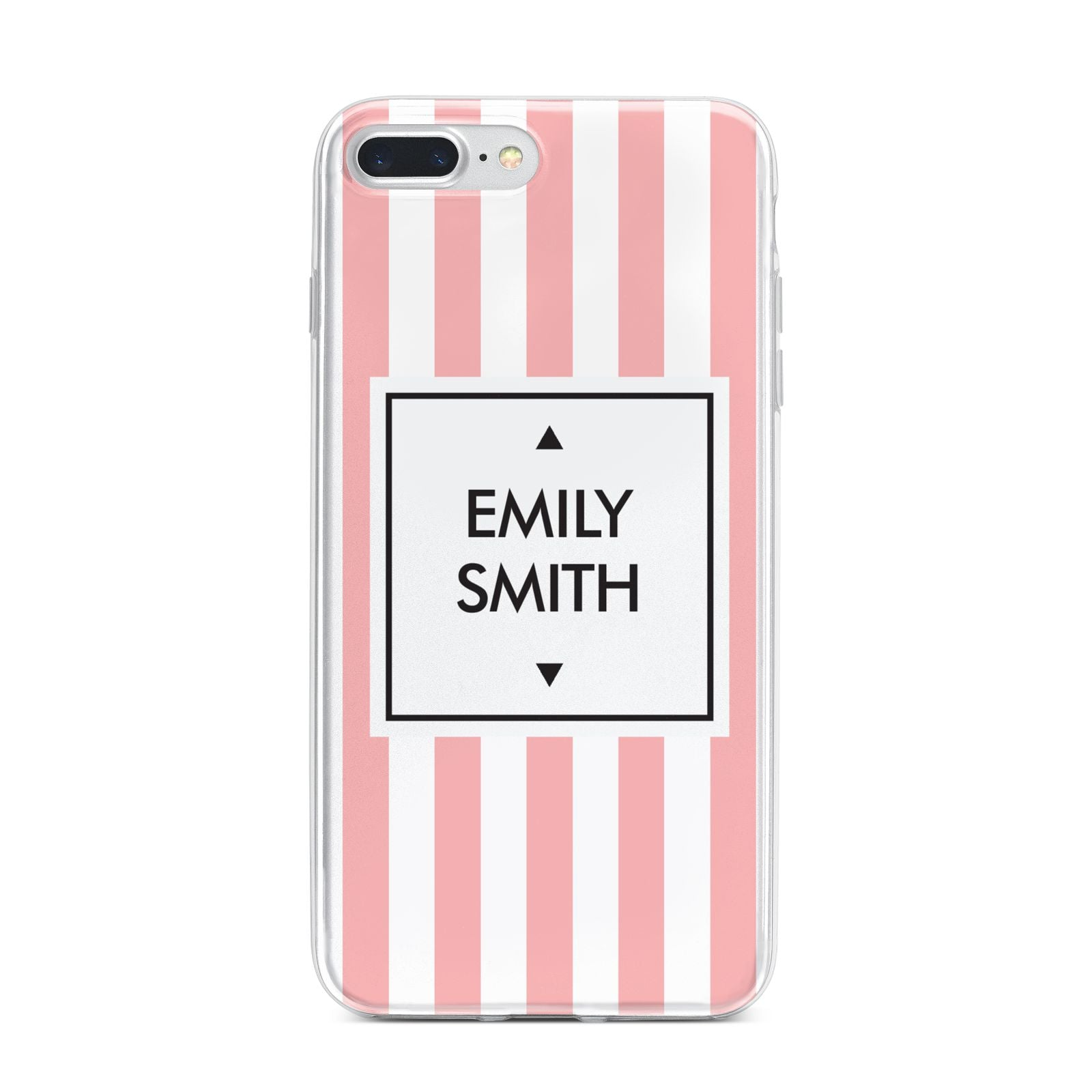 Personalised Candy Striped Name Initials iPhone 7 Plus Bumper Case on Silver iPhone