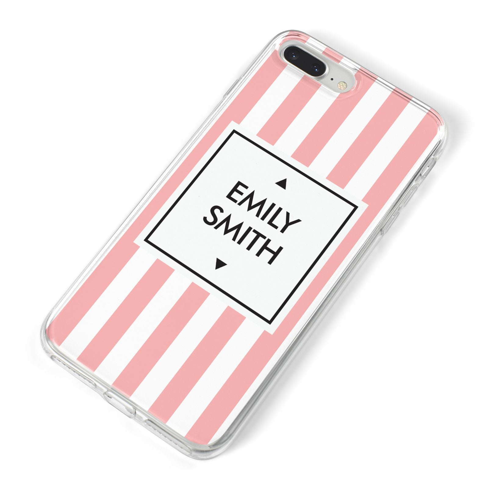 Personalised Candy Striped Name Initials iPhone 8 Plus Bumper Case on Silver iPhone Alternative Image