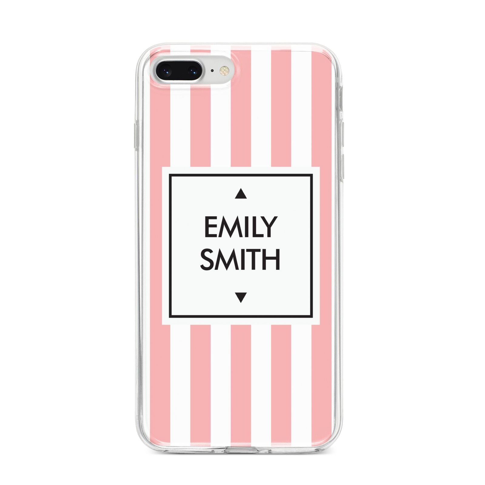Personalised Candy Striped Name Initials iPhone 8 Plus Bumper Case on Silver iPhone