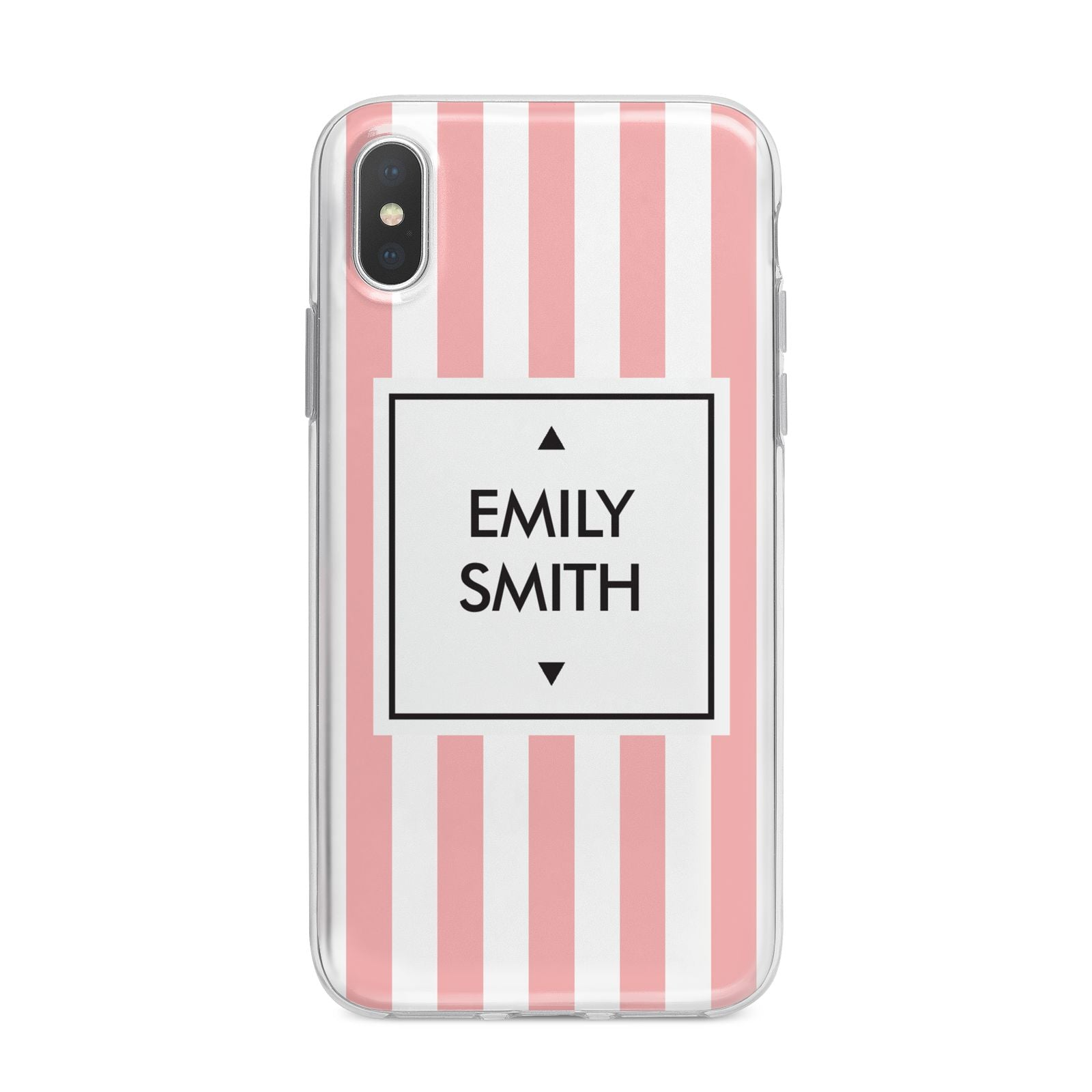 Personalised Candy Striped Name Initials iPhone X Bumper Case on Silver iPhone Alternative Image 1