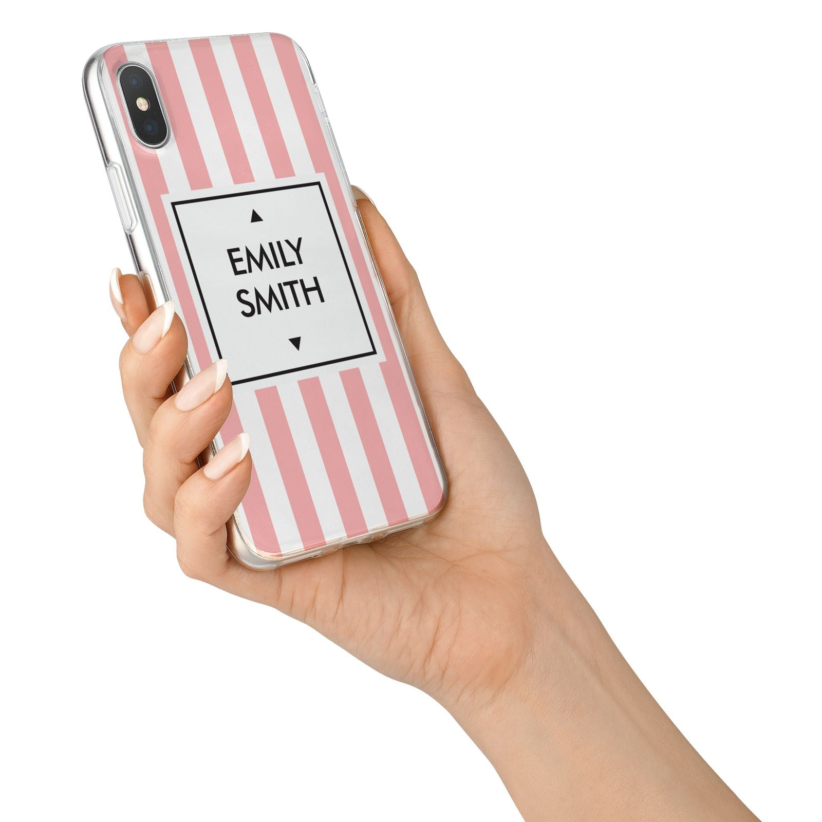 Personalised Candy Striped Name Initials iPhone X Bumper Case on Silver iPhone Alternative Image 2