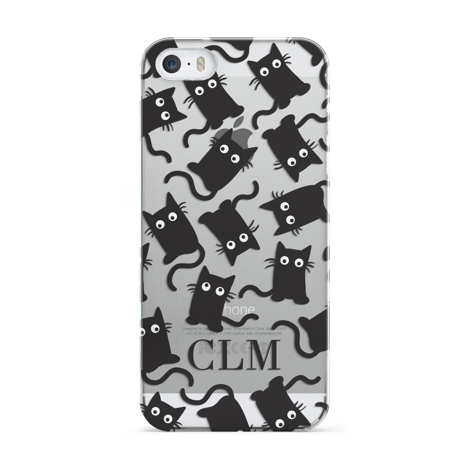 Personalised Cat Initials Clear Apple iPhone 5 Case