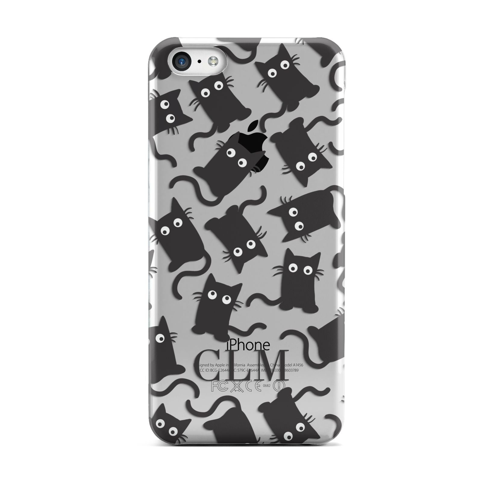 Personalised Cat Initials Clear Apple iPhone 5c Case