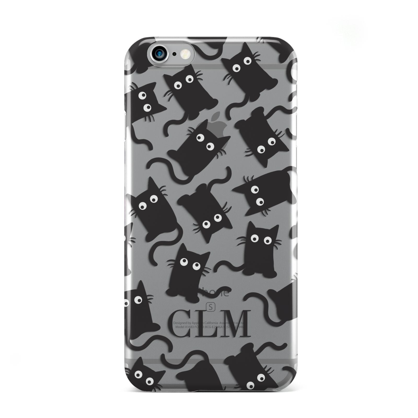 Personalised Cat Initials Clear Apple iPhone 6 Case