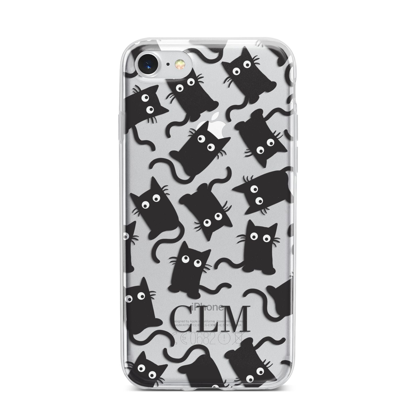 Personalised Cat Initials Clear iPhone 7 Bumper Case on Silver iPhone