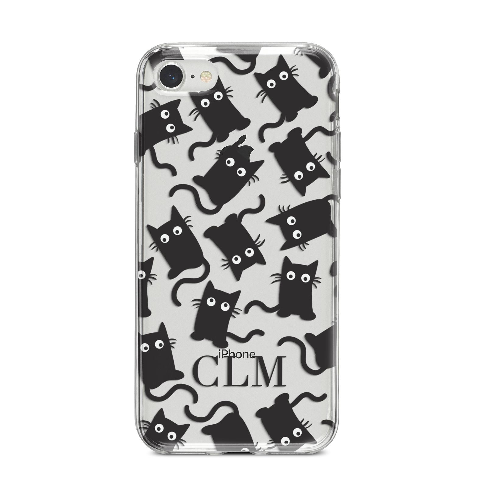 Personalised Cat Initials Clear iPhone 8 Bumper Case on Silver iPhone