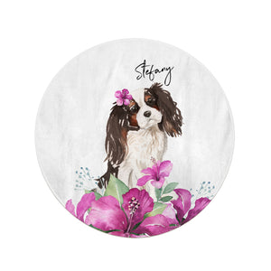 Personalised Cavalier King Charles Spaniel Round Beach Towel