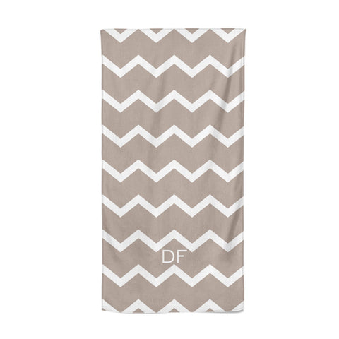 Personalised Chevron Beige Beach Towel