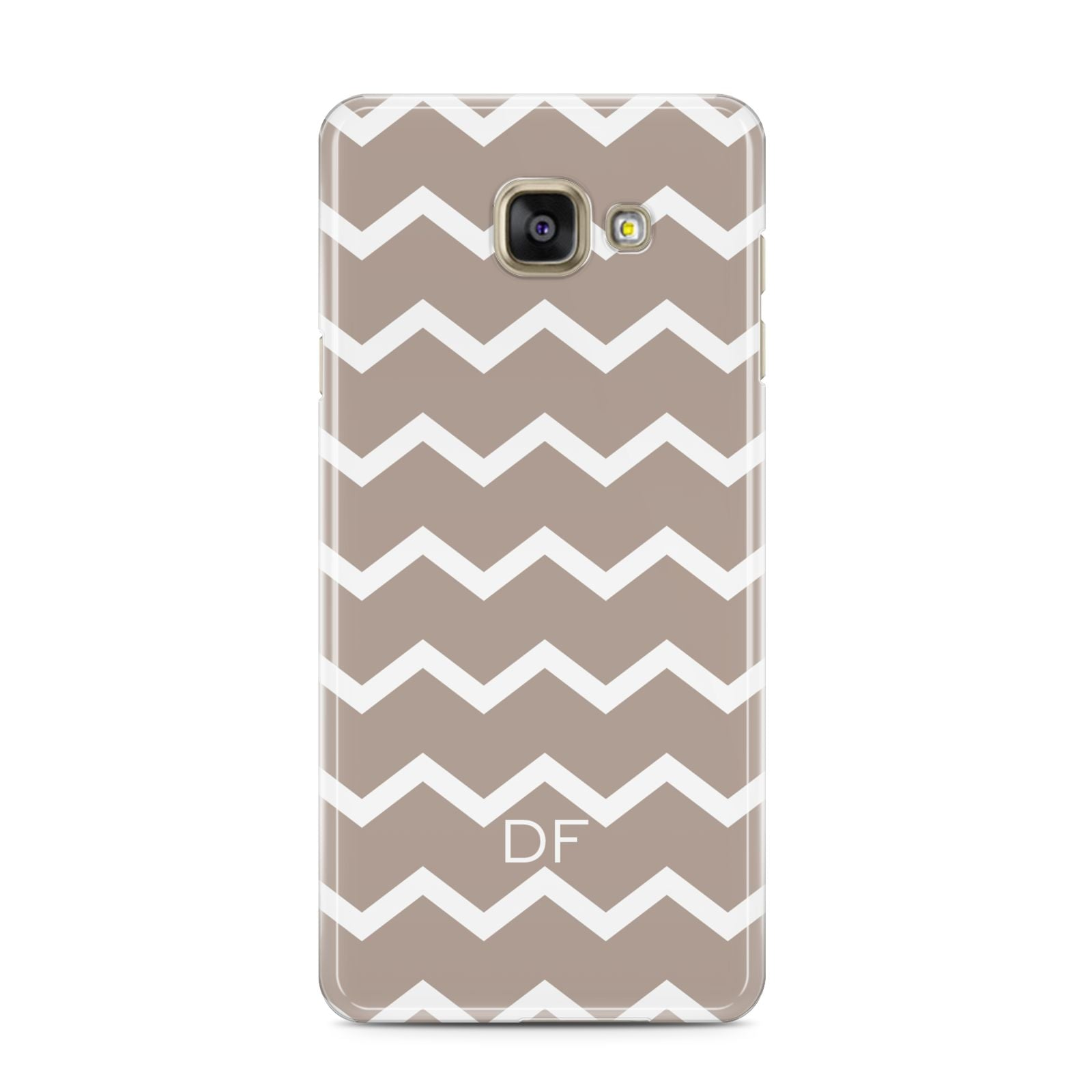 Personalised Chevron Beige Samsung Galaxy A3 2016 Case on gold phone