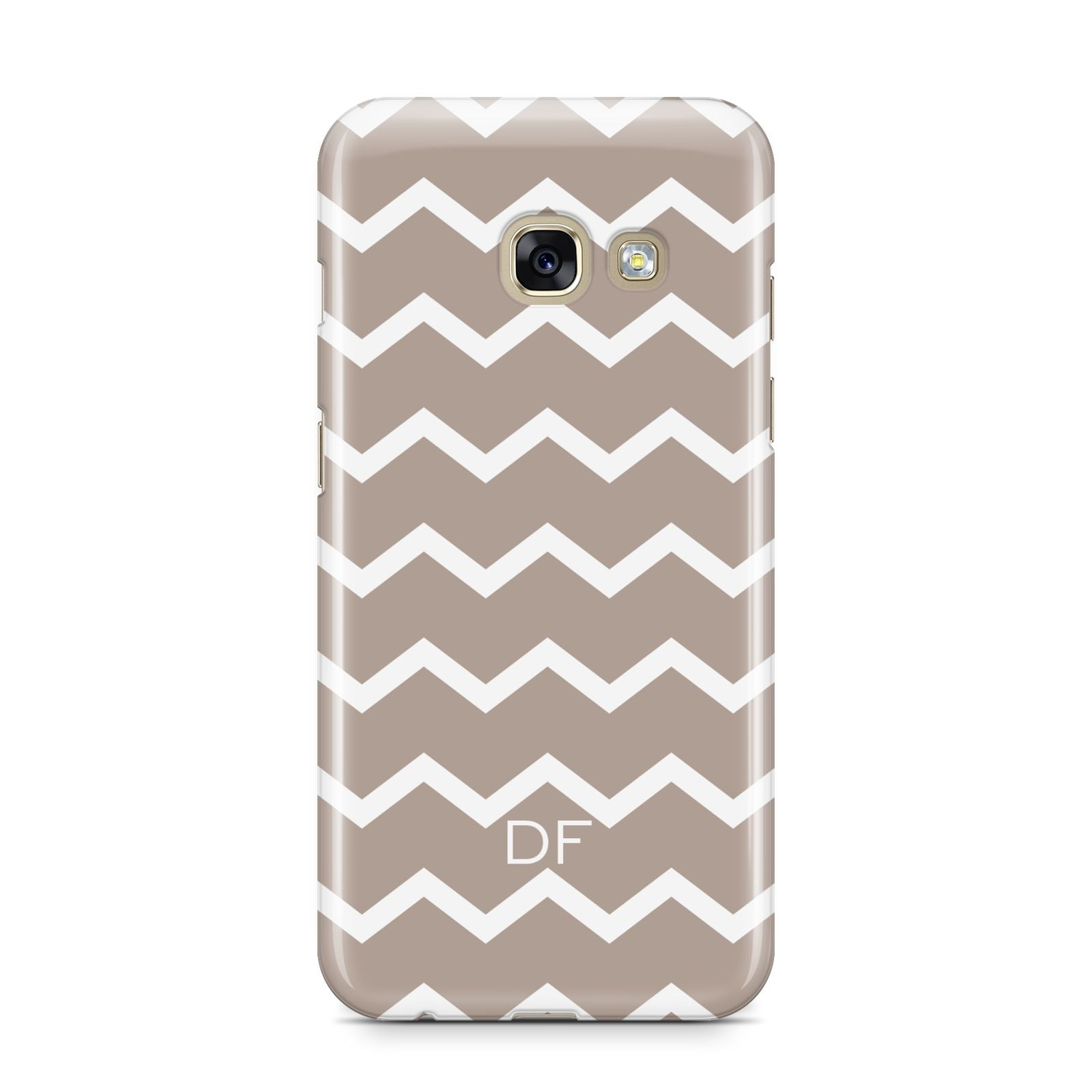 Personalised Chevron Beige Samsung Galaxy A3 2017 Case on gold phone