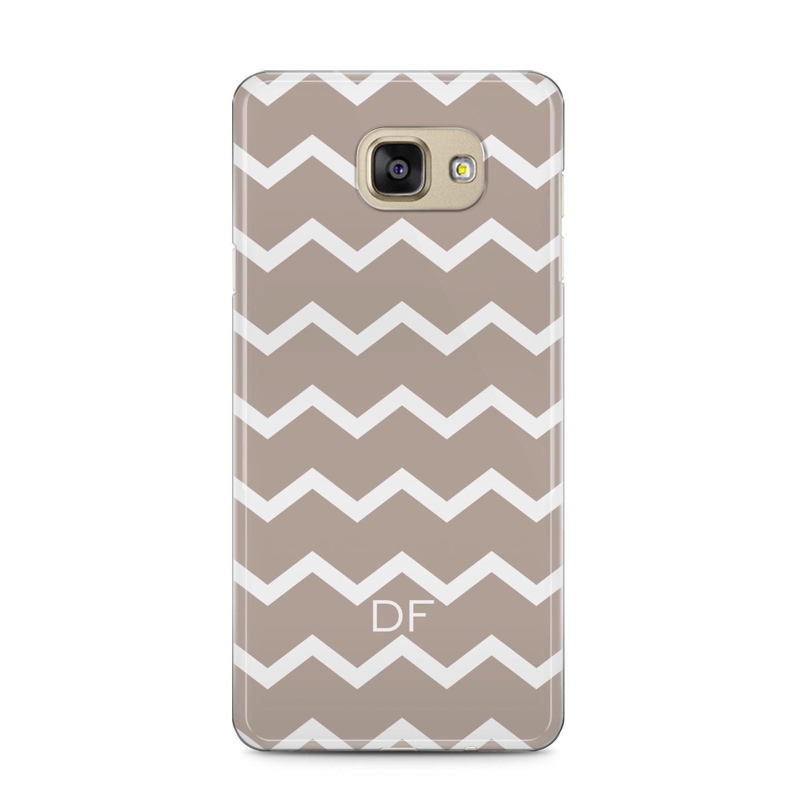 Personalised Chevron Beige Samsung Galaxy A5 2016 Case on gold phone