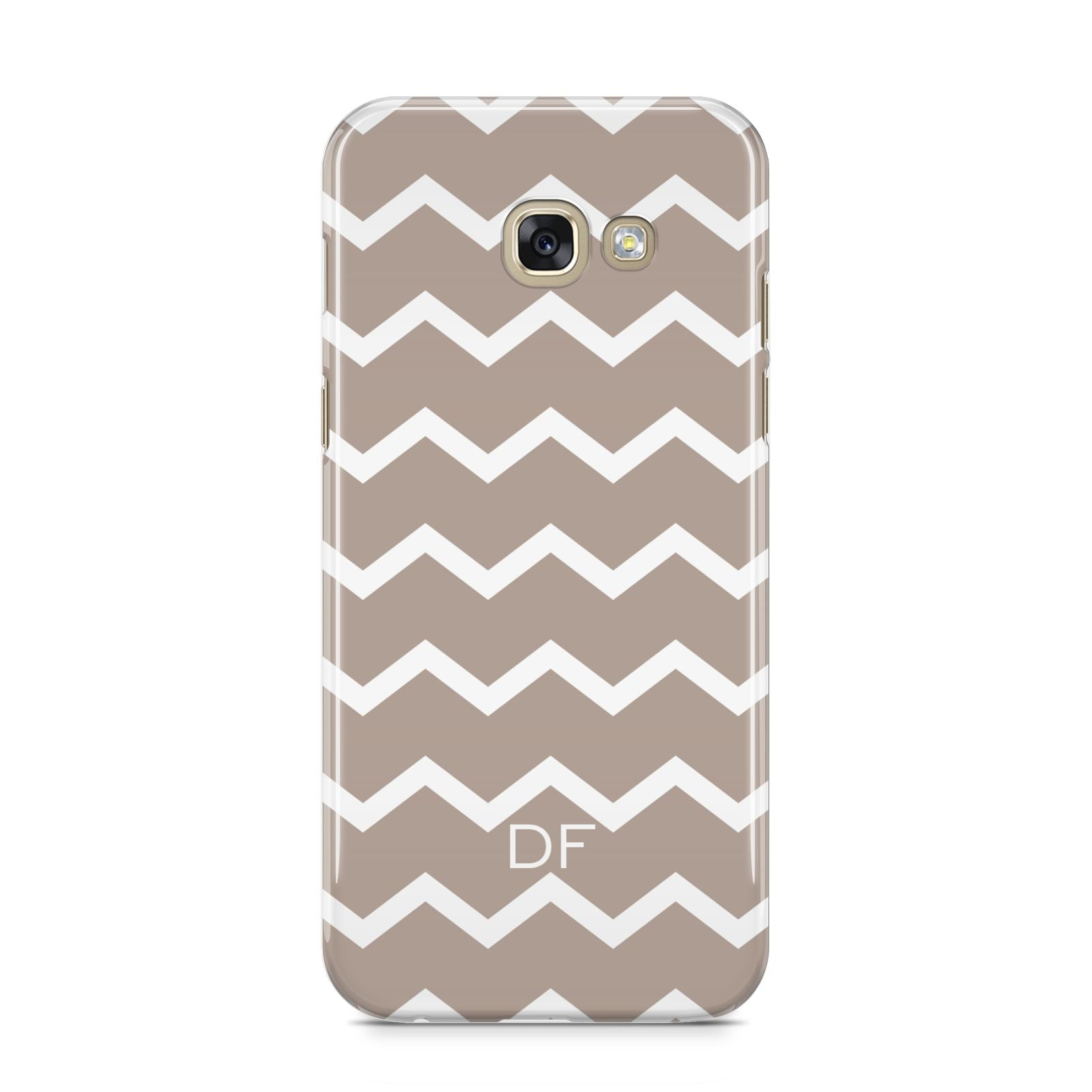 Personalised Chevron Beige Samsung Galaxy A5 2017 Case on gold phone