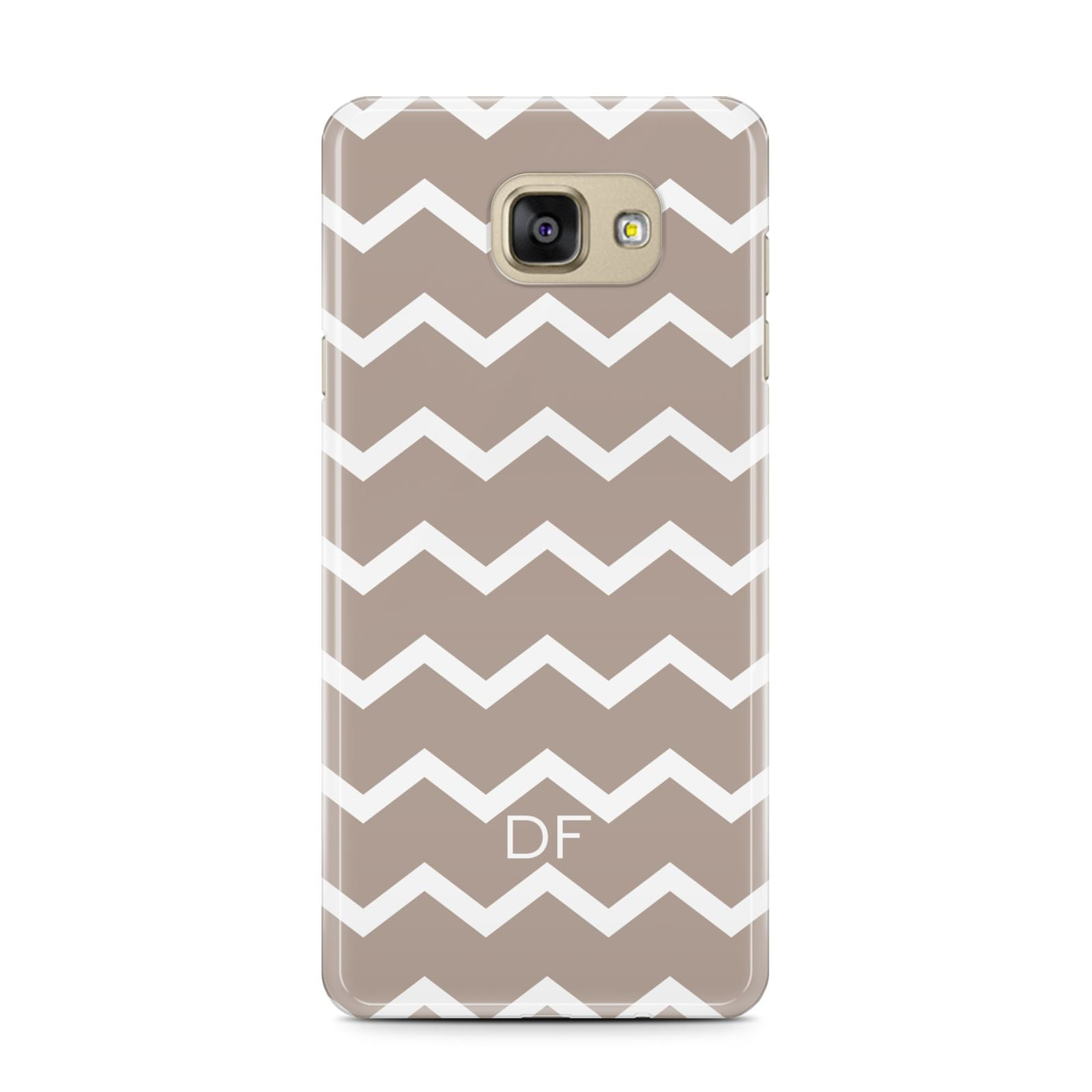 Personalised Chevron Beige Samsung Galaxy A7 2016 Case on gold phone