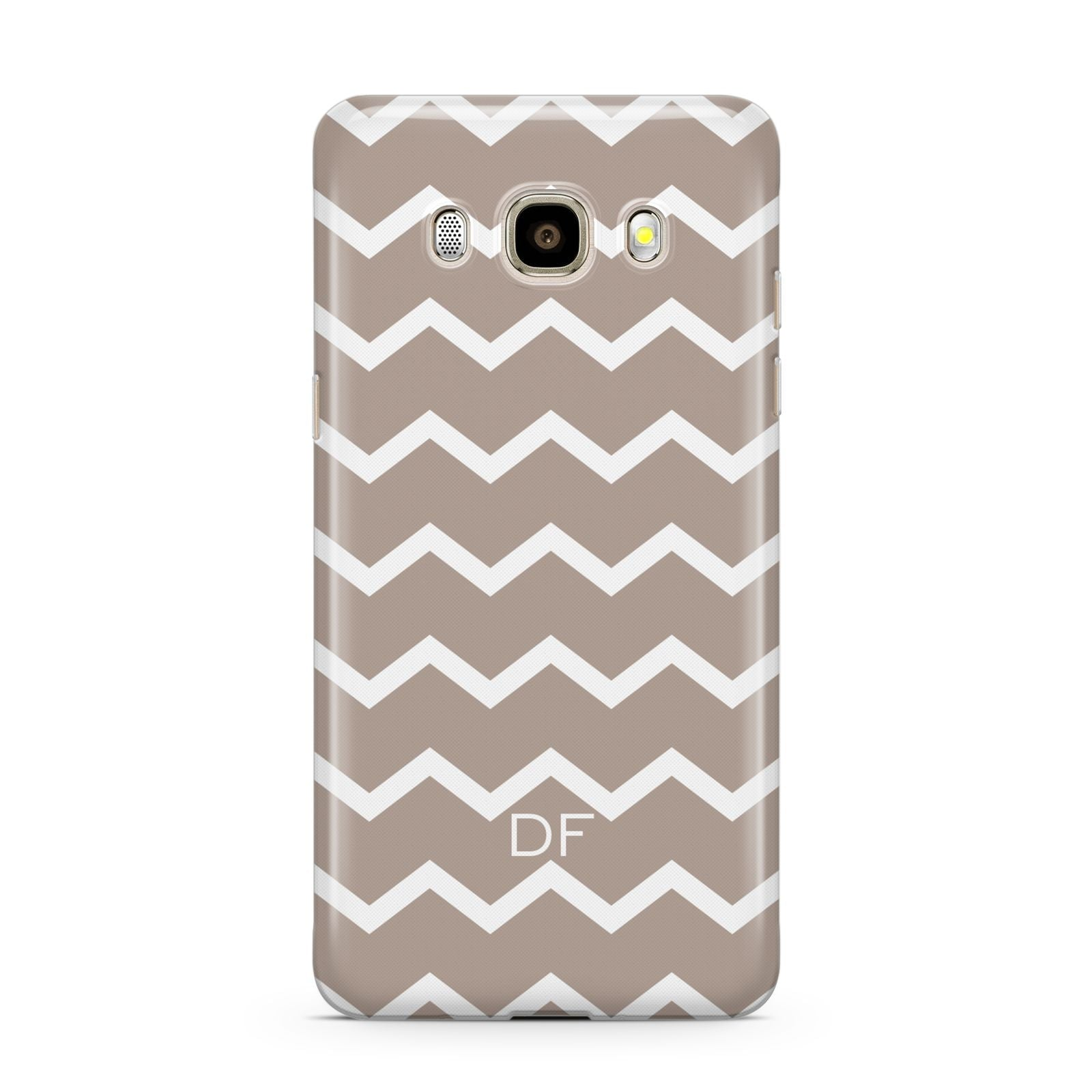 Personalised Chevron Beige Samsung Galaxy J7 2016 Case on gold phone