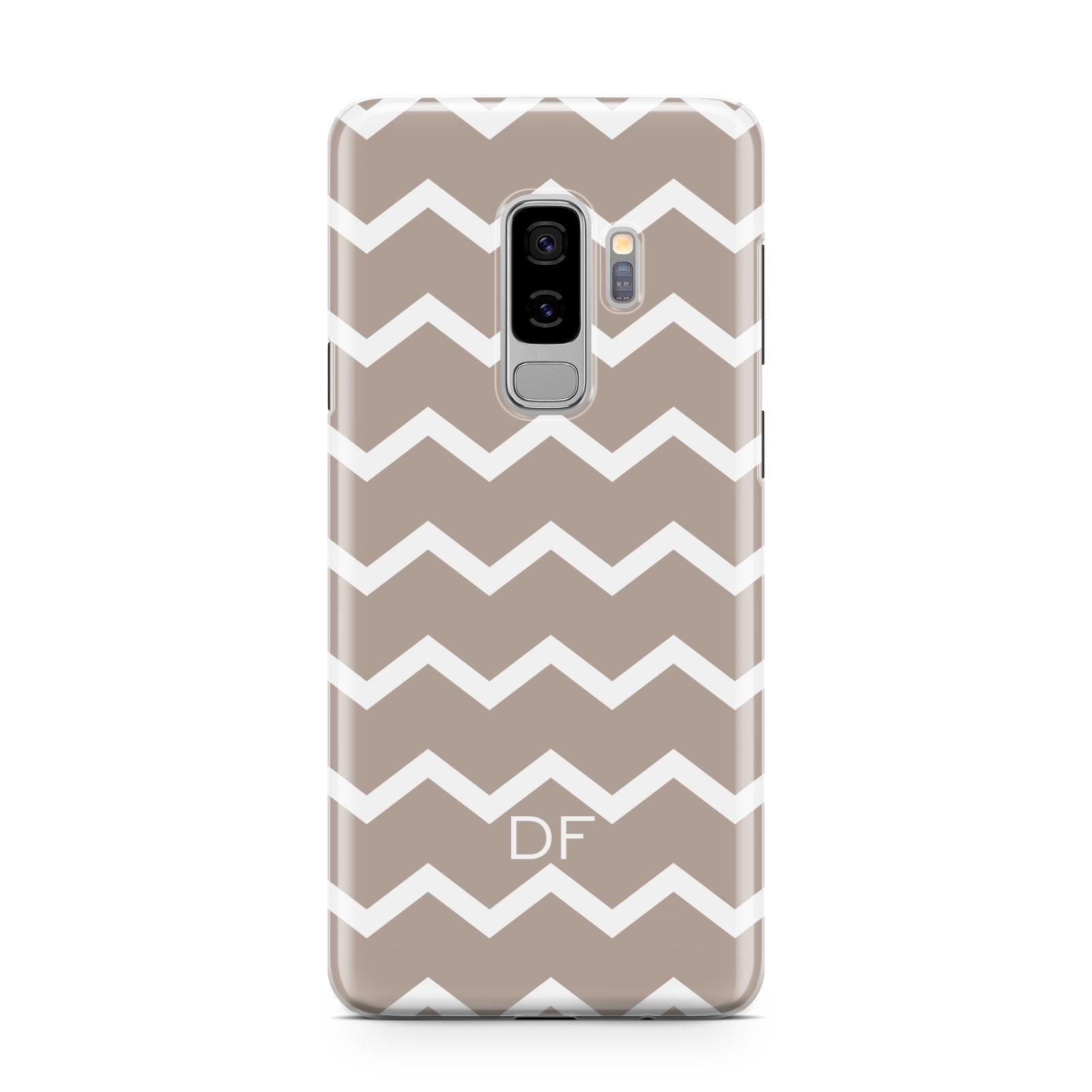Personalised Chevron Beige Samsung Galaxy S9 Plus Case on Silver phone
