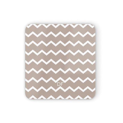 Personalised Chevron Beige Coasters set of 4