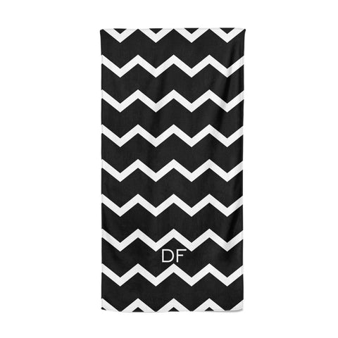 Personalised Chevron Black Beach Towel