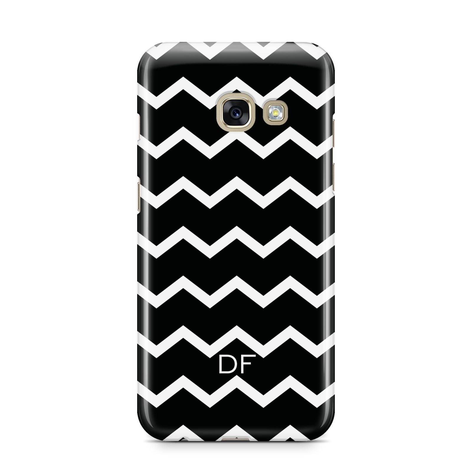 Personalised Chevron Black Samsung Galaxy A3 2017 Case on gold phone