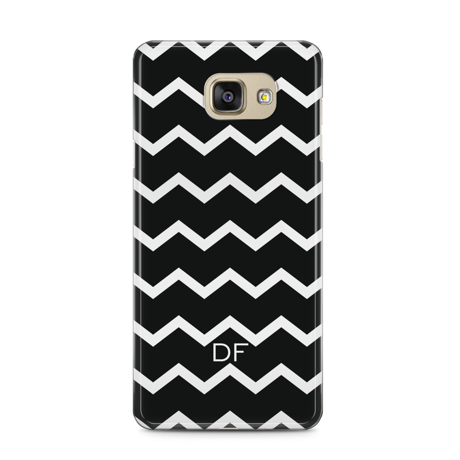 Personalised Chevron Black Samsung Galaxy A5 2016 Case on gold phone