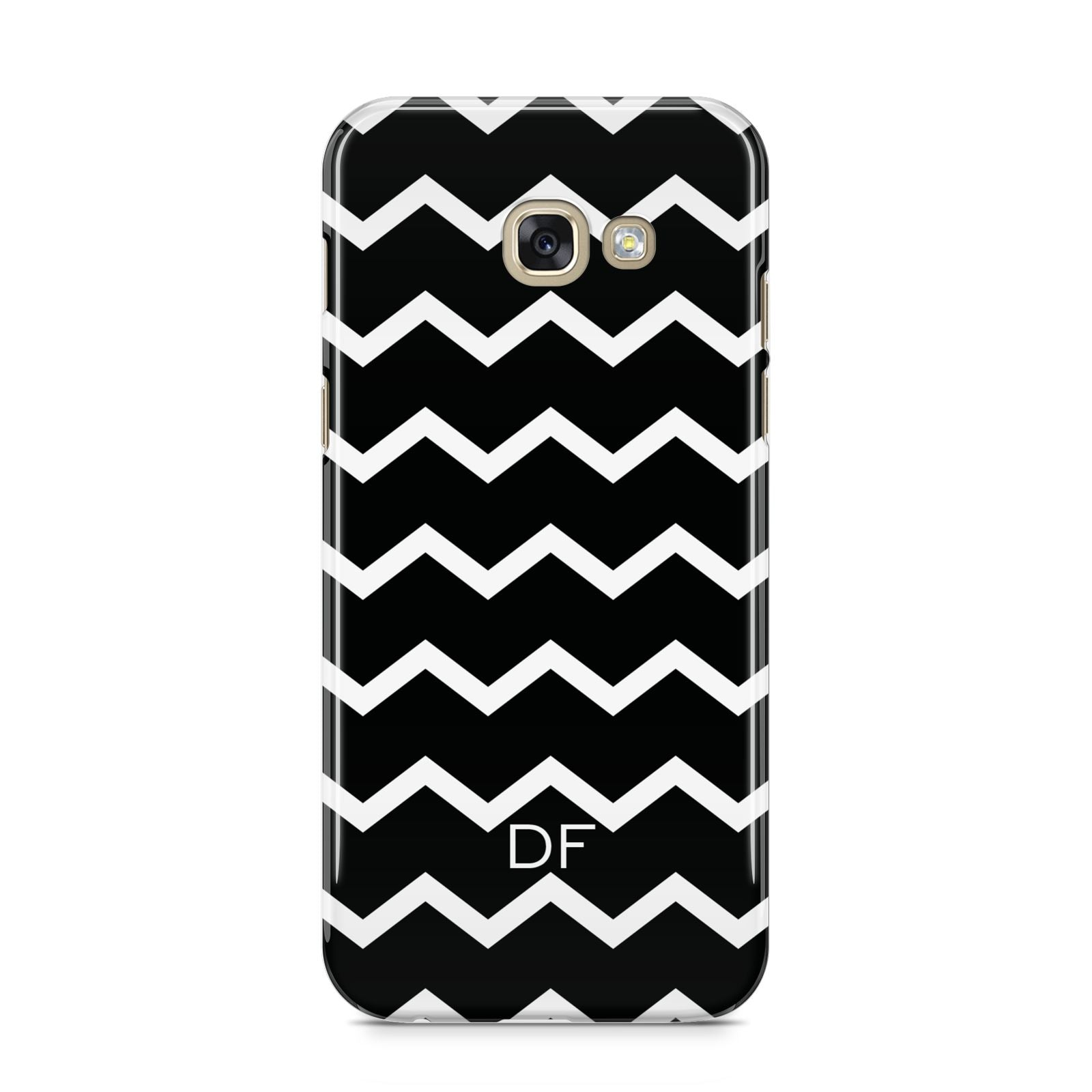 Personalised Chevron Black Samsung Galaxy A5 2017 Case on gold phone