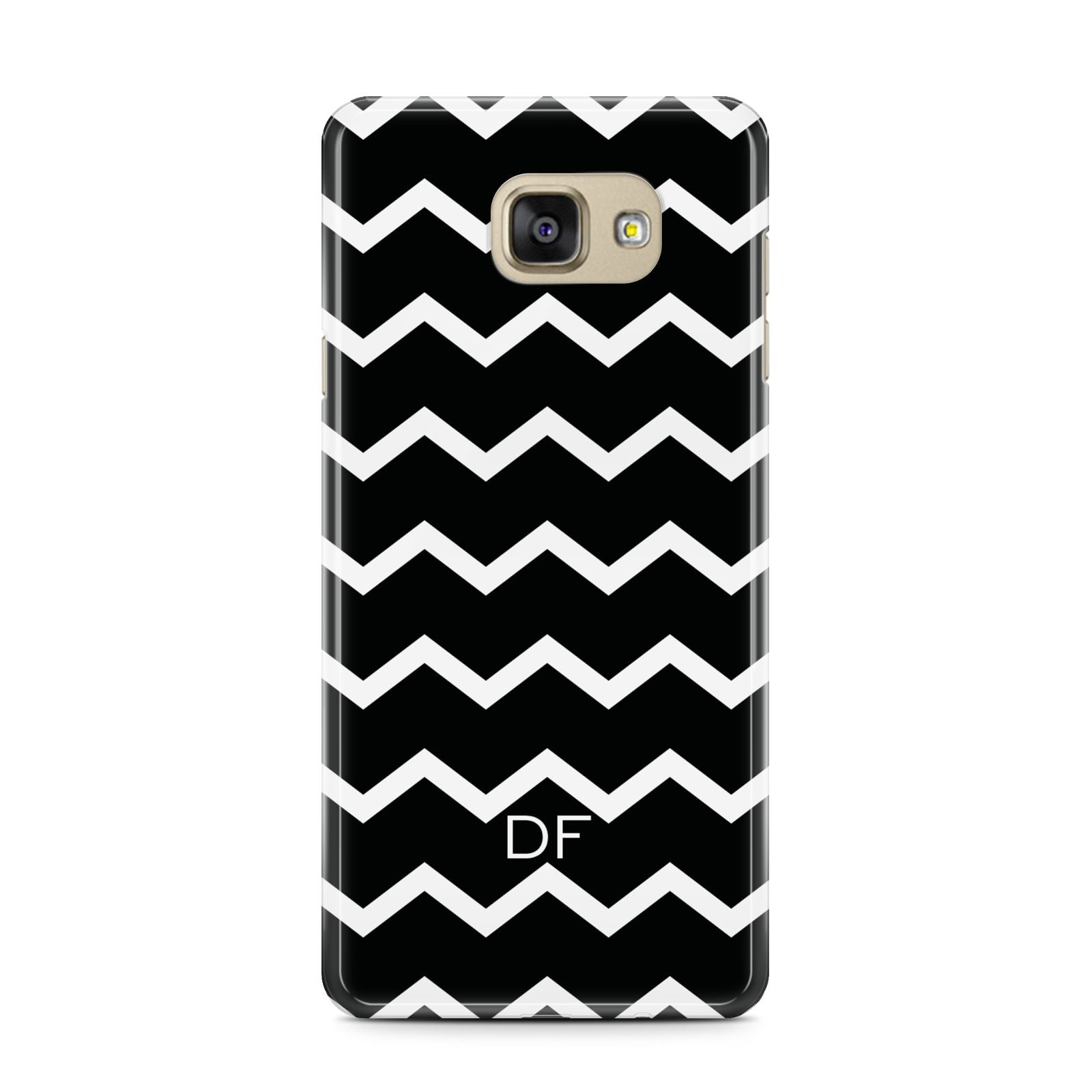 Personalised Chevron Black Samsung Galaxy A7 2016 Case on gold phone