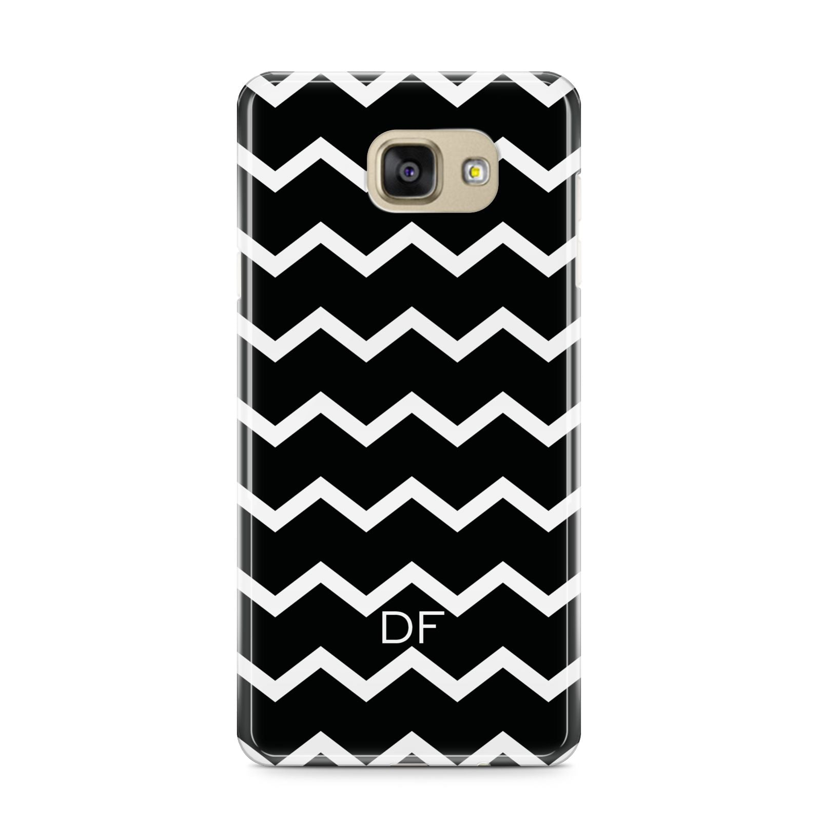 Personalised Chevron Black Samsung Galaxy A9 2016 Case on gold phone