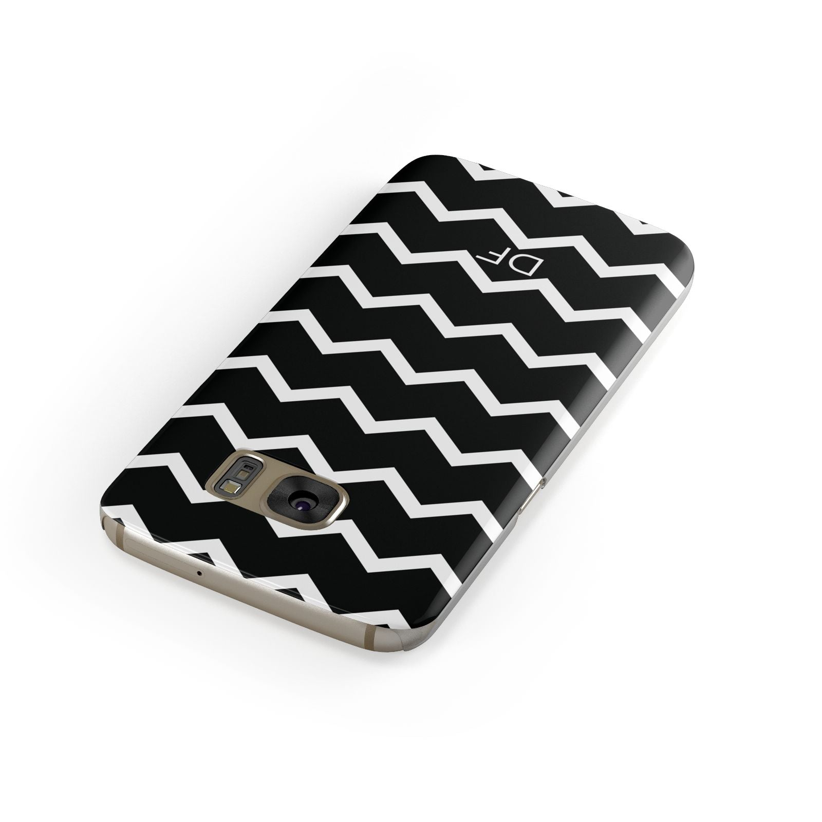 Personalised Chevron Black Samsung Galaxy Case Front Close Up