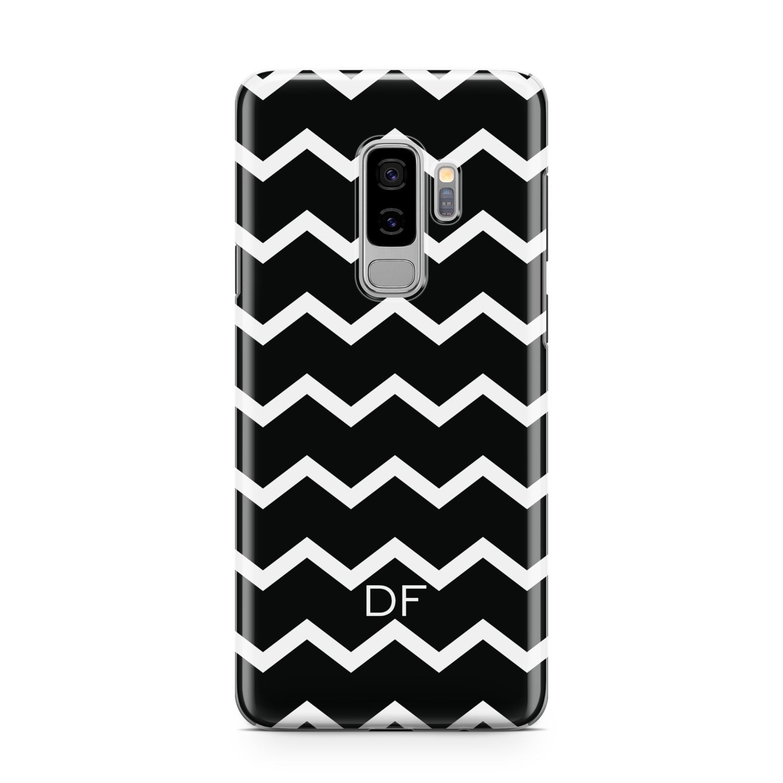 Personalised Chevron Black Samsung Galaxy S9 Plus Case on Silver phone
