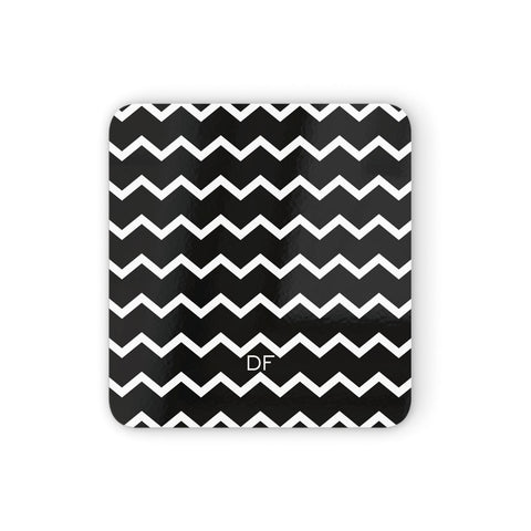 Personalised Chevron Black Coasters set of 4