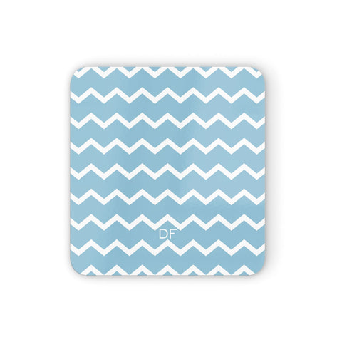 Personalised Chevron Blue Coasters set of 4