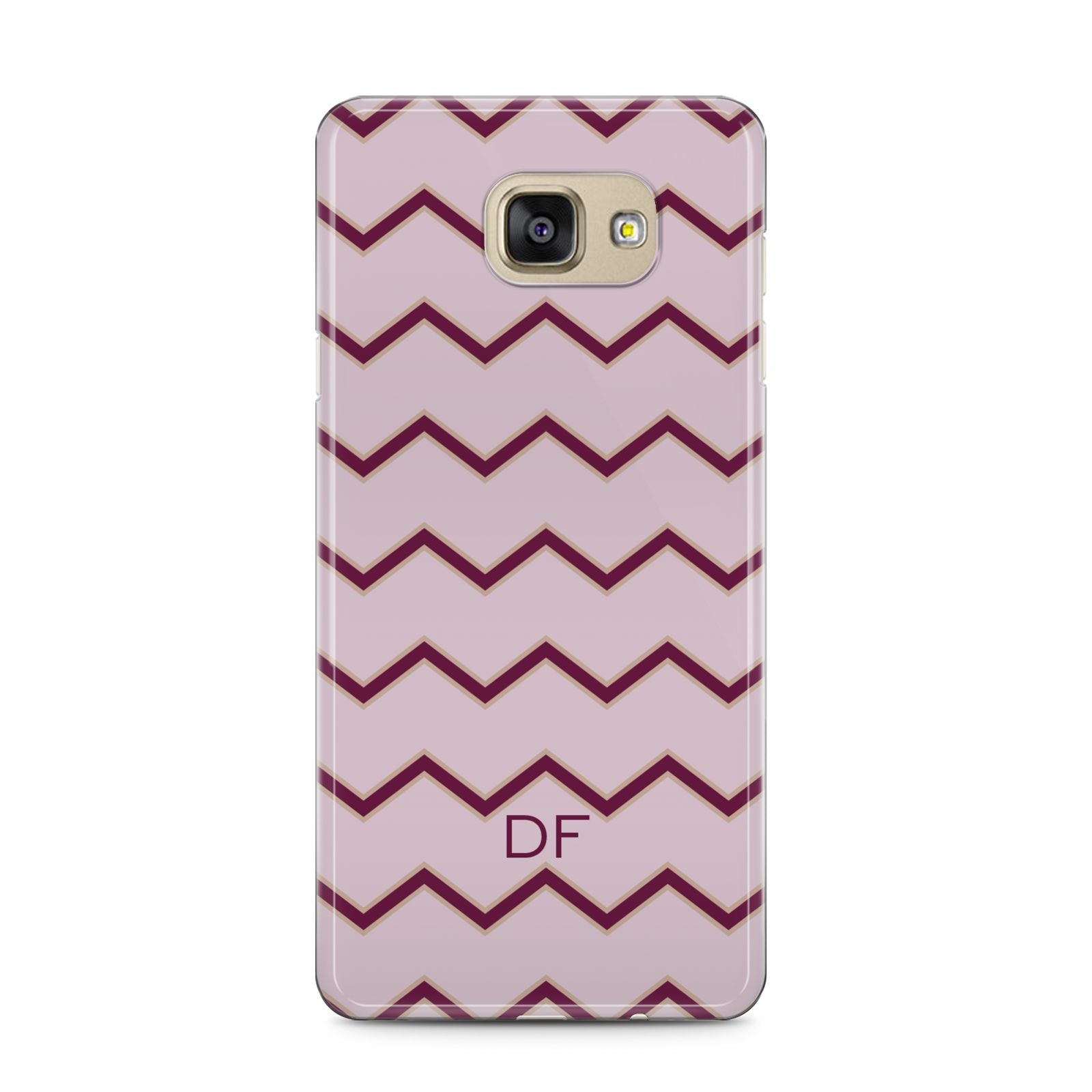 Personalised Chevron Burgundy Samsung Galaxy A5 2016 Case on gold phone
