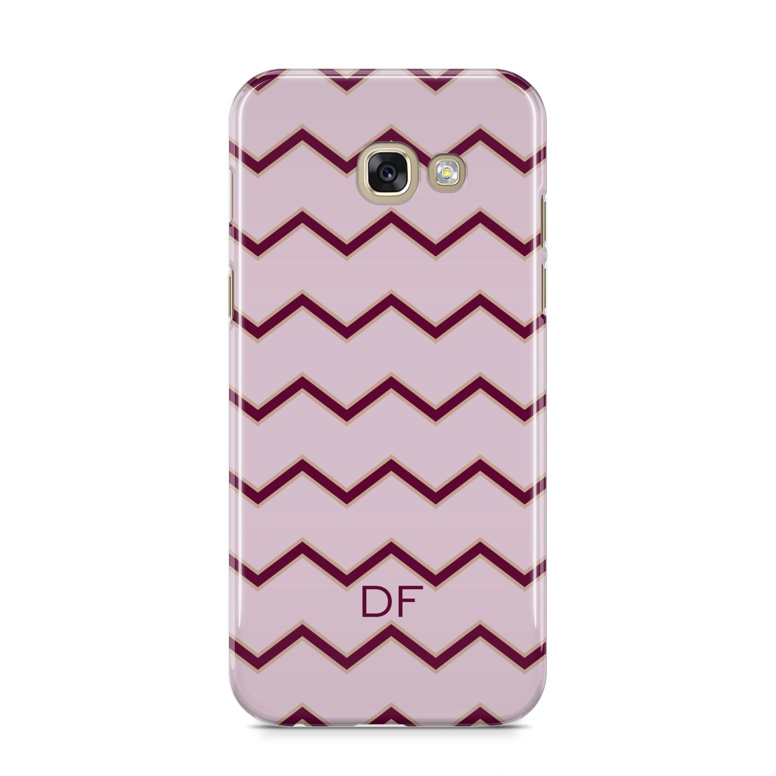 Personalised Chevron Burgundy Samsung Galaxy A5 2017 Case on gold phone