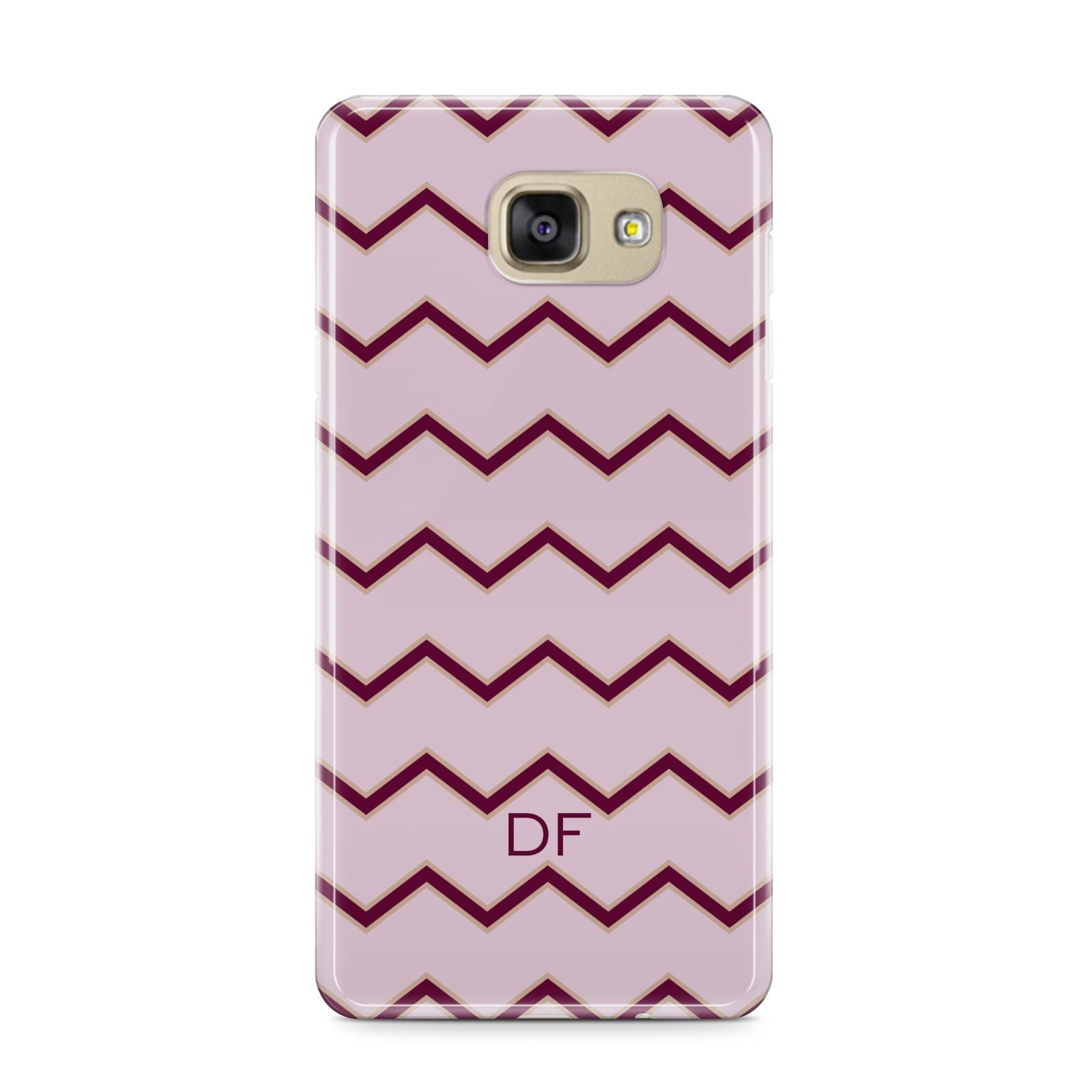 Personalised Chevron Burgundy Samsung Galaxy A9 2016 Case on gold phone