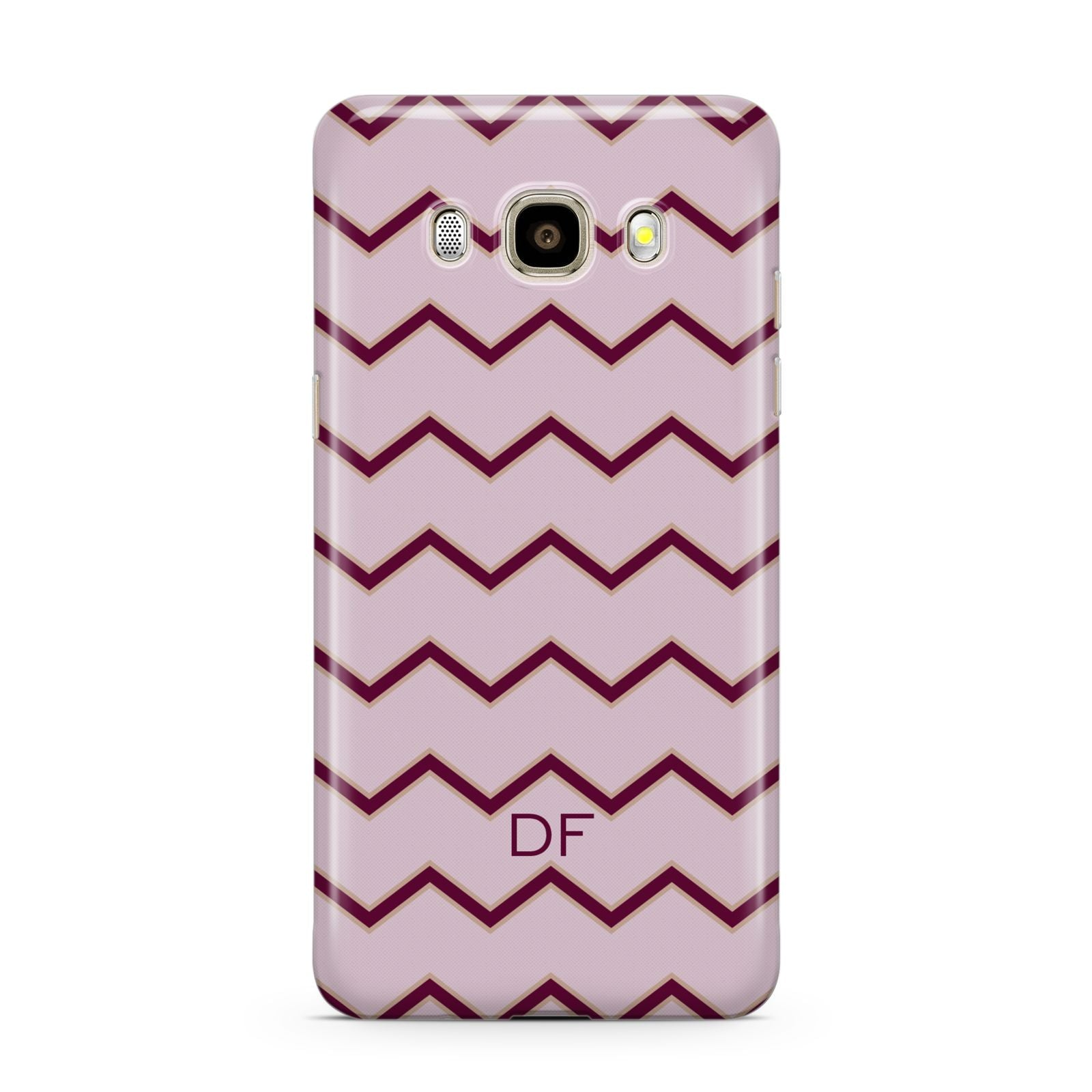 Personalised Chevron Burgundy Samsung Galaxy J7 2016 Case on gold phone