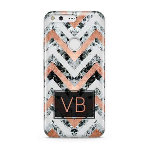 Personalised Chevron Marble Initials Google Case