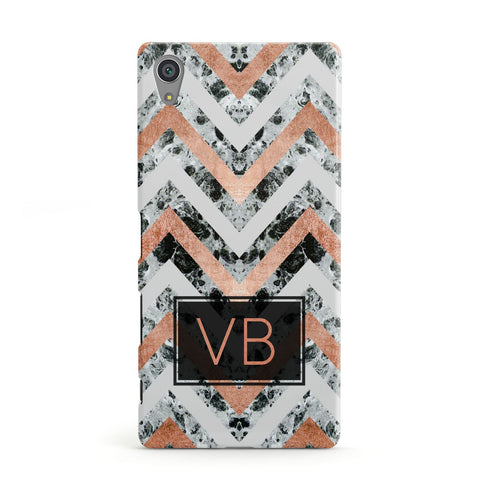 Personalised Chevron Marble Initials Sony Xperia Case