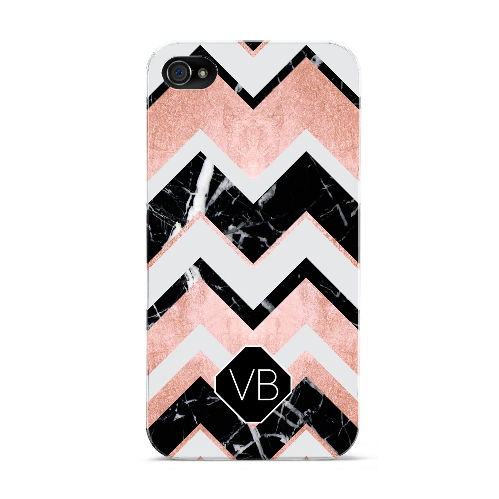 Personalised Chevron Marbled Initials Apple iPhone 4s Case