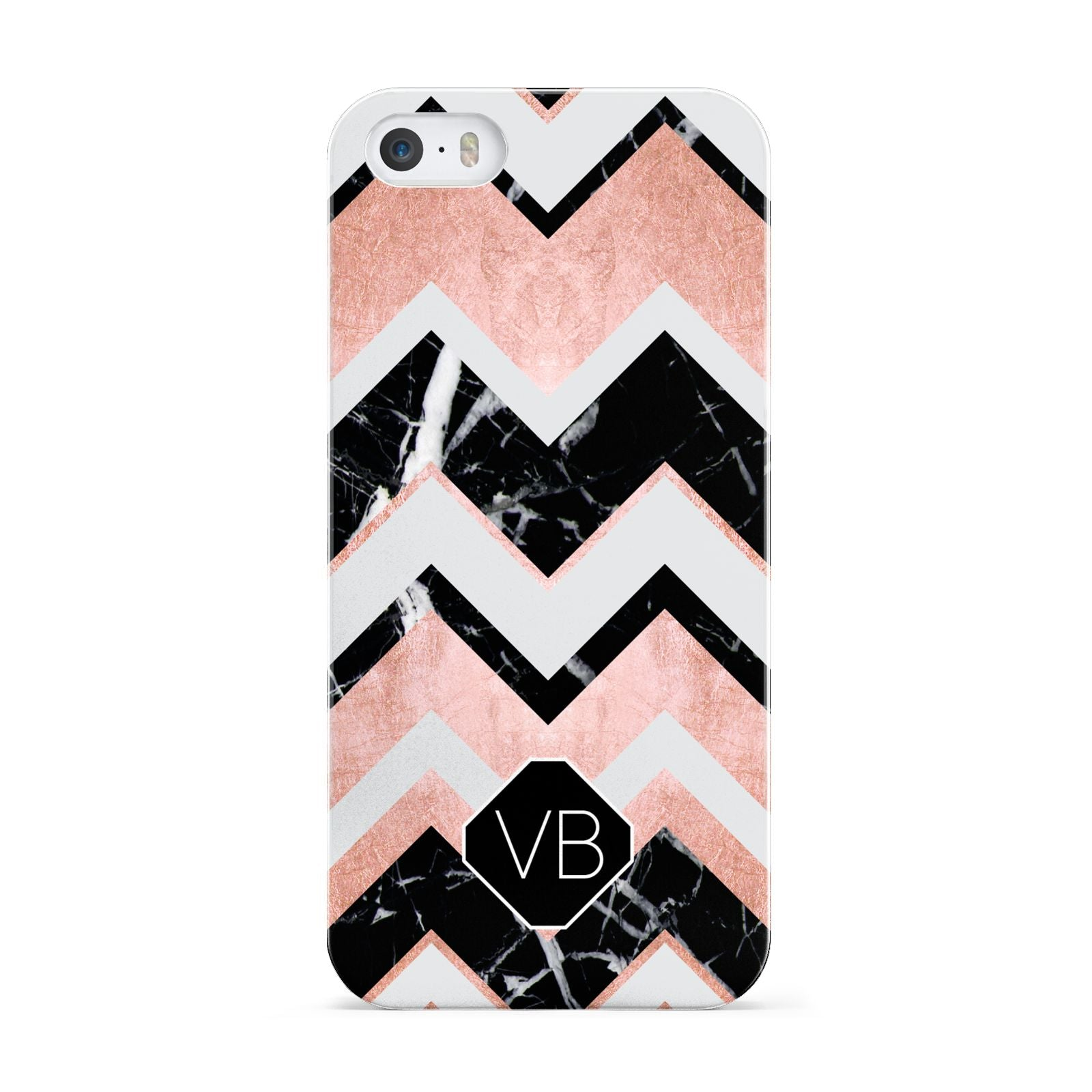 Personalised Chevron Marbled Initials Apple iPhone 5 Case