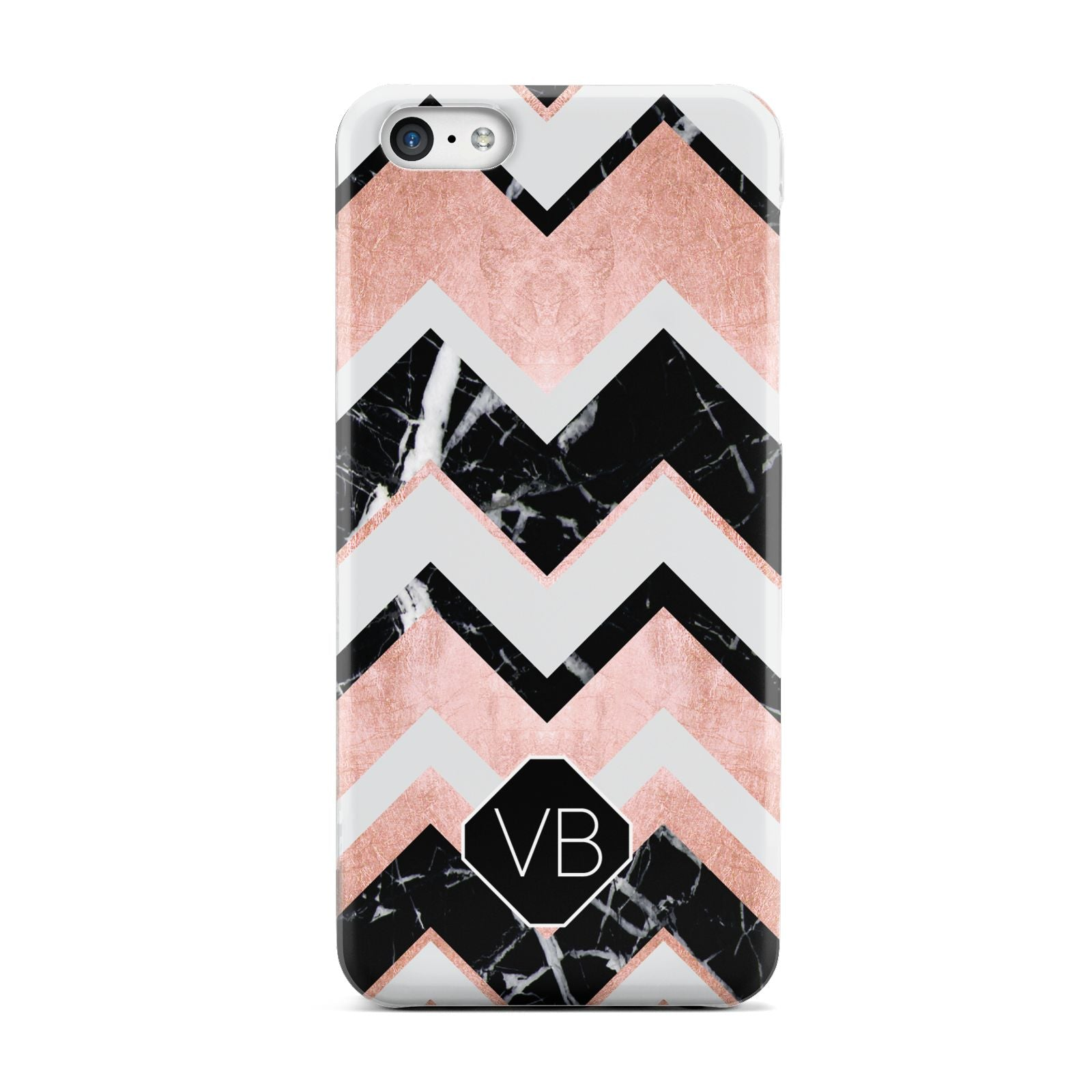 Personalised Chevron Marbled Initials Apple iPhone 5c Case