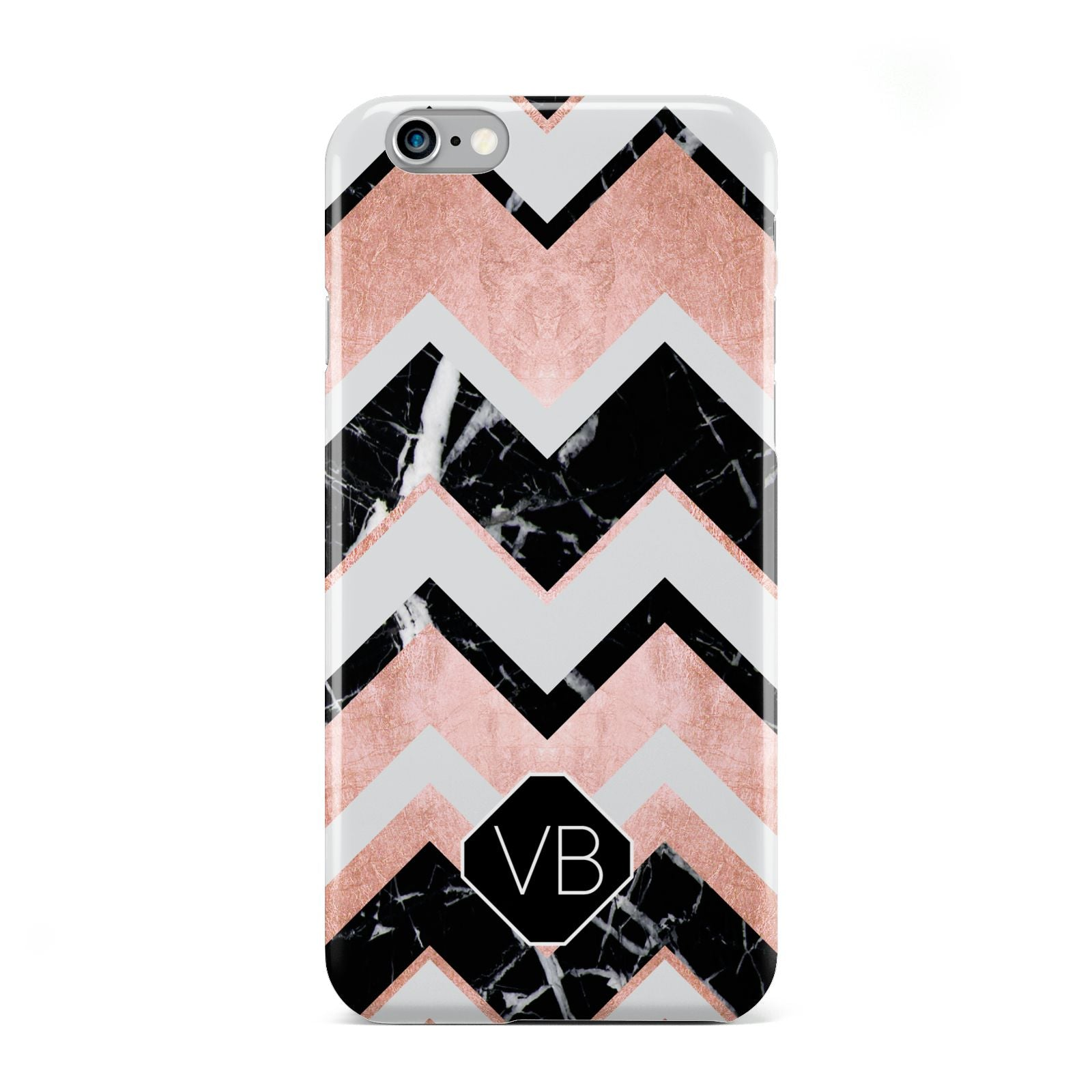 Personalised Chevron Marbled Initials Apple iPhone 6 Case