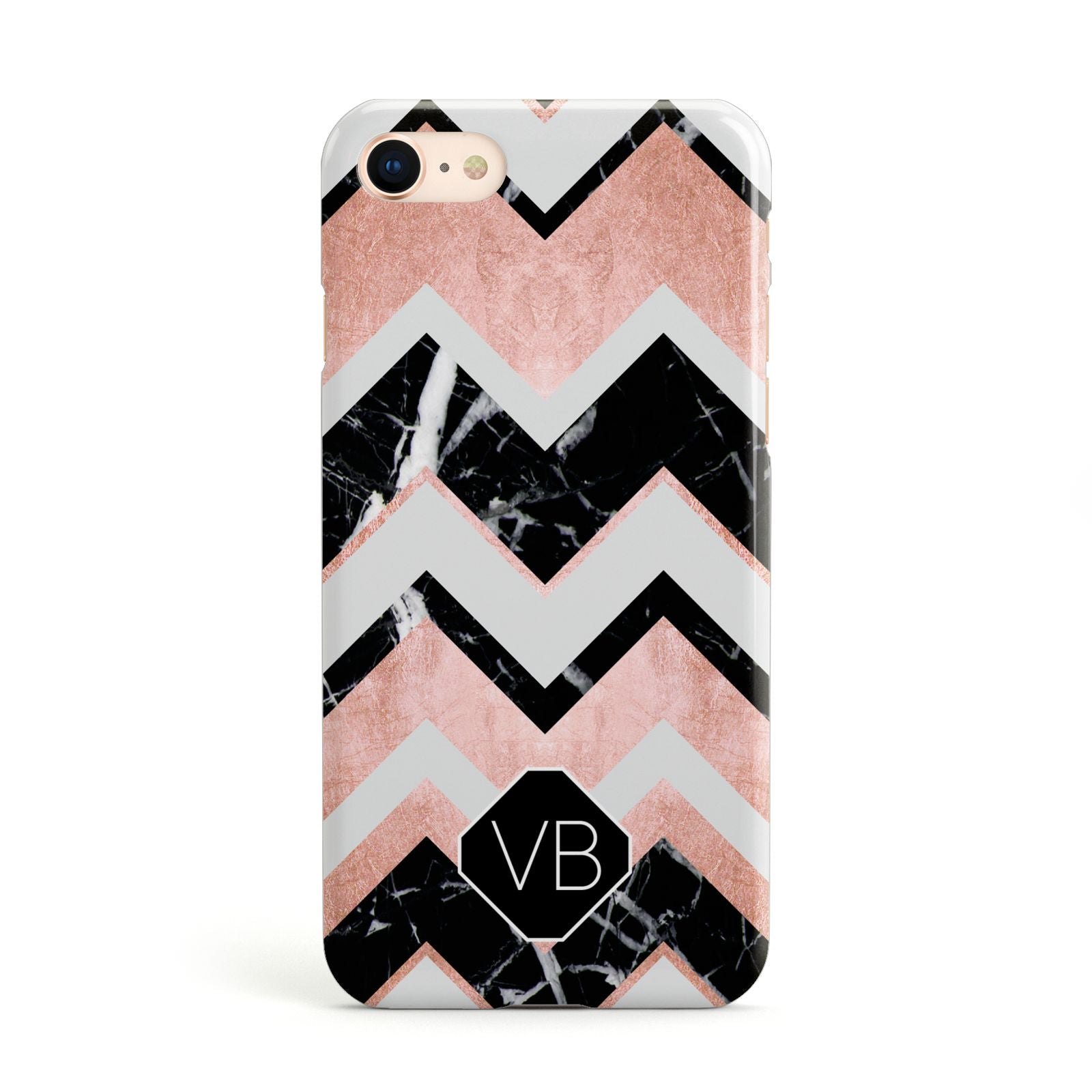Personalised Chevron Marbled Initials Apple iPhone Case