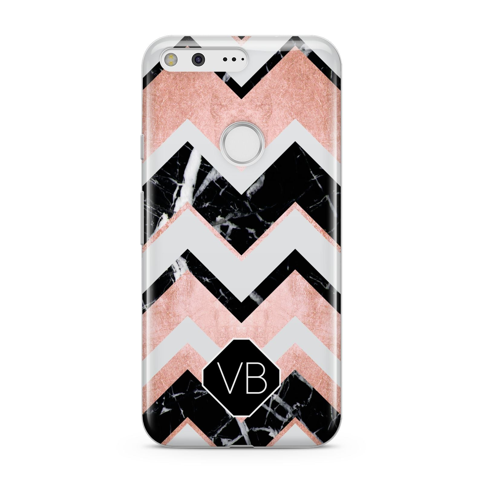 Personalised Chevron Marbled Initials Google Pixel Case