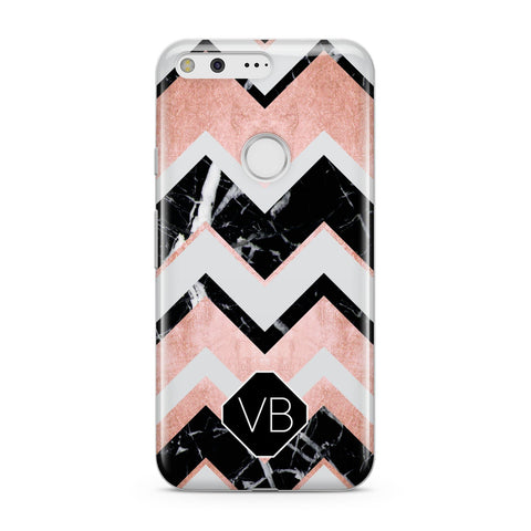 Personalised Chevron Marbled Initials Google Case