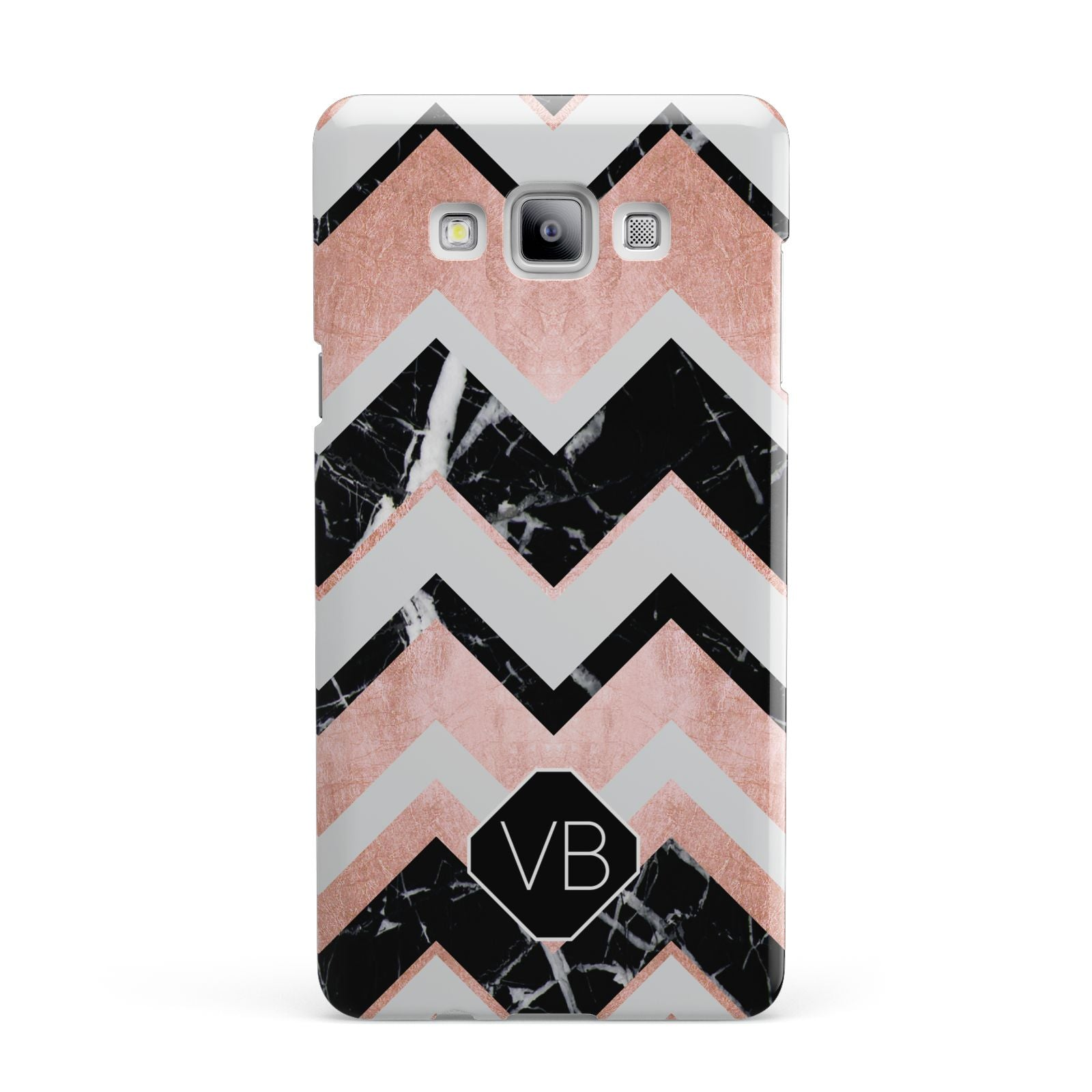 Personalised Chevron Marbled Initials Samsung Galaxy A7 2015 Case