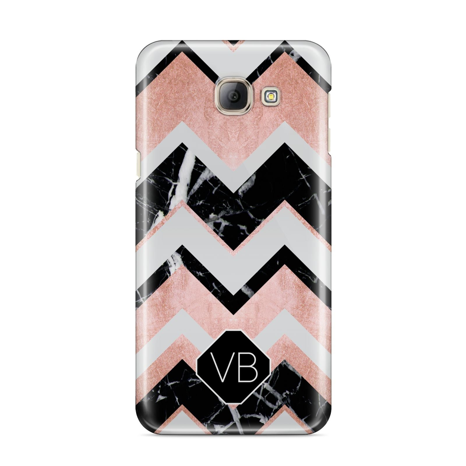 Personalised Chevron Marbled Initials Samsung Galaxy A8 2016 Case