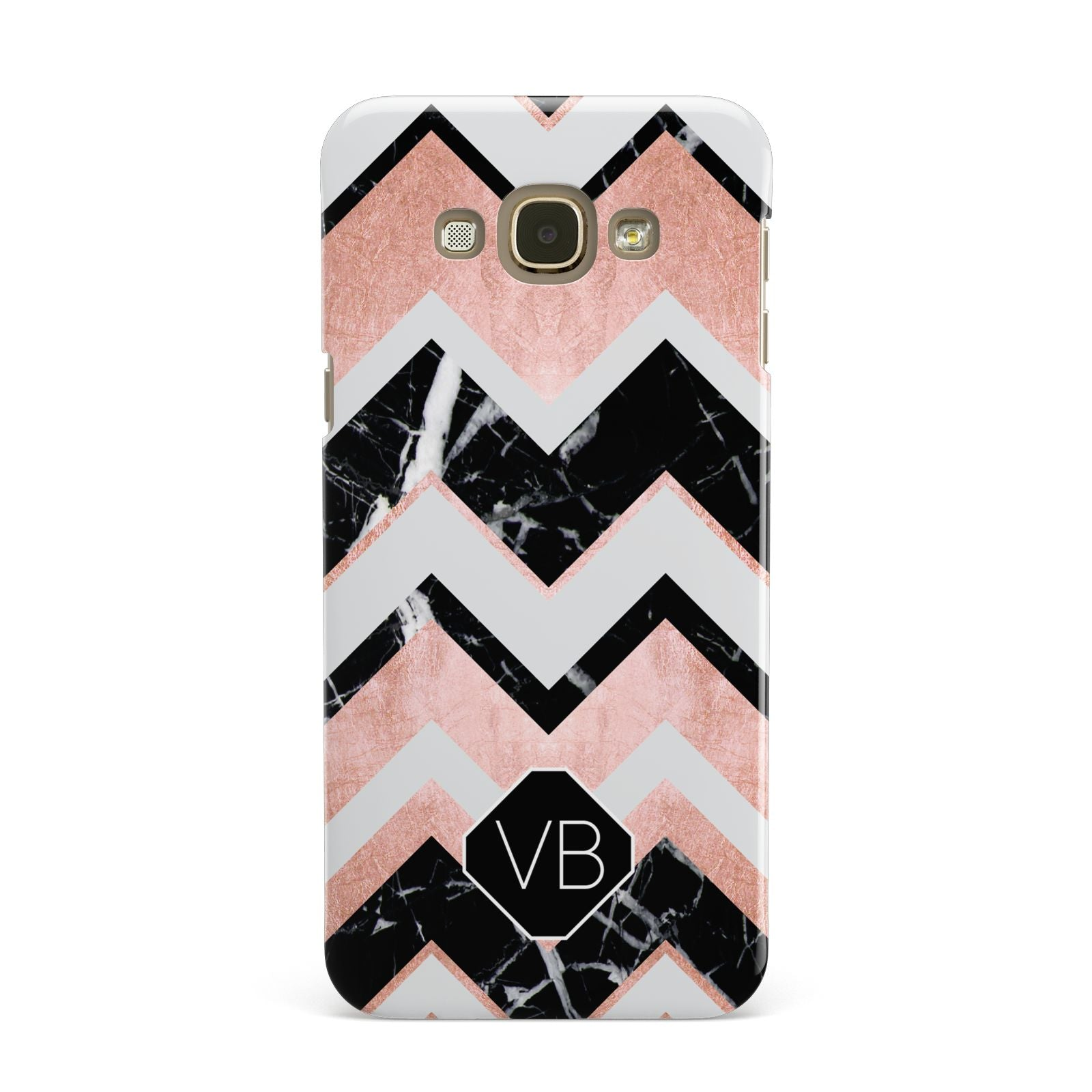 Personalised Chevron Marbled Initials Samsung Galaxy A8 Case