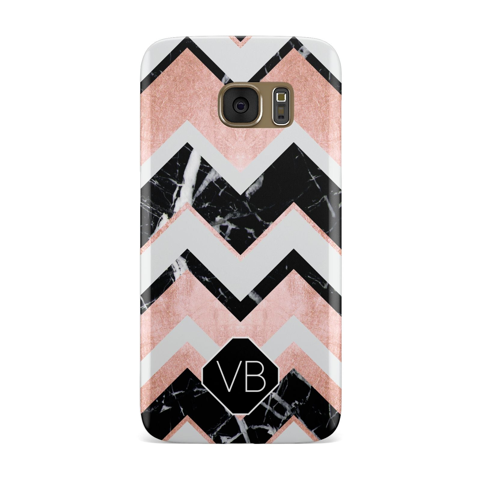 Personalised Chevron Marbled Initials Samsung Galaxy Case
