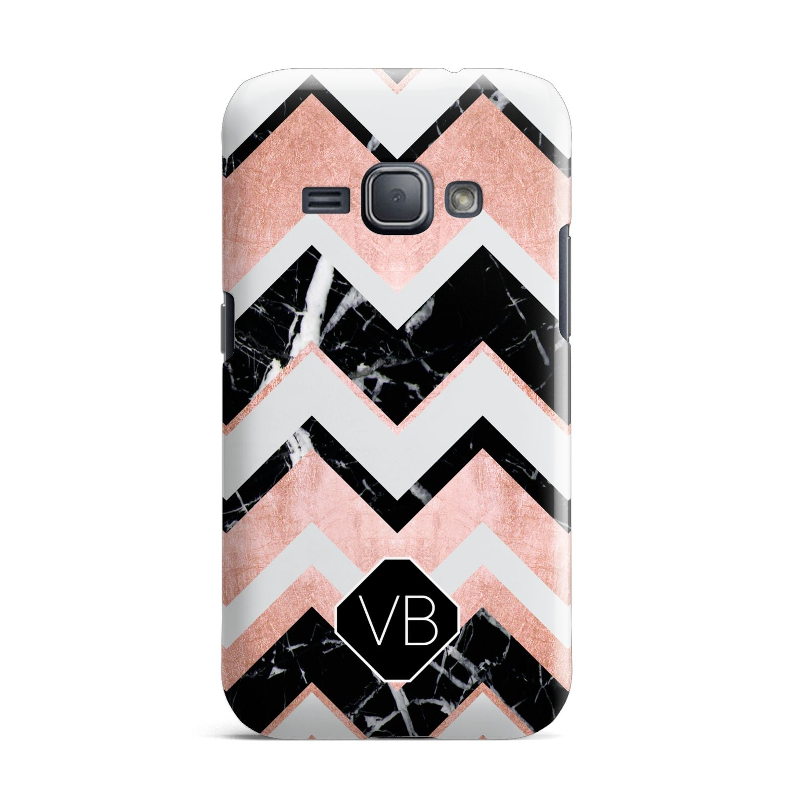 Personalised Chevron Marbled Initials Samsung Galaxy J1 2016 Case