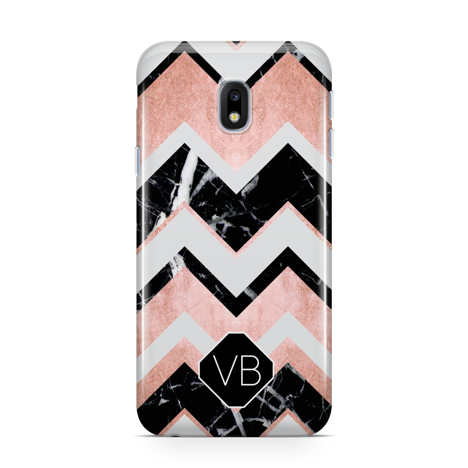 Personalised Chevron Marbled Initials Samsung Galaxy J3 2017 Case
