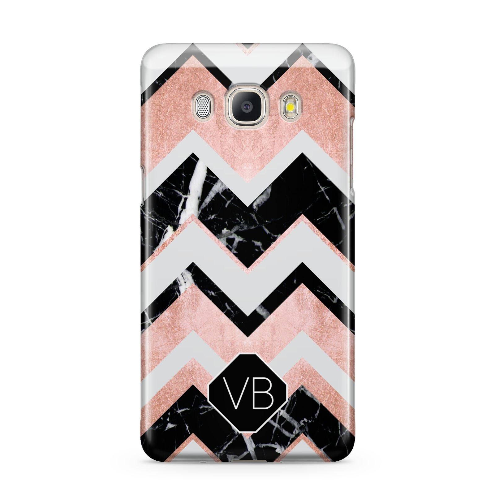 Personalised Chevron Marbled Initials Samsung Galaxy J5 2016 Case
